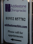 Addlestone chiropractic clinic sign